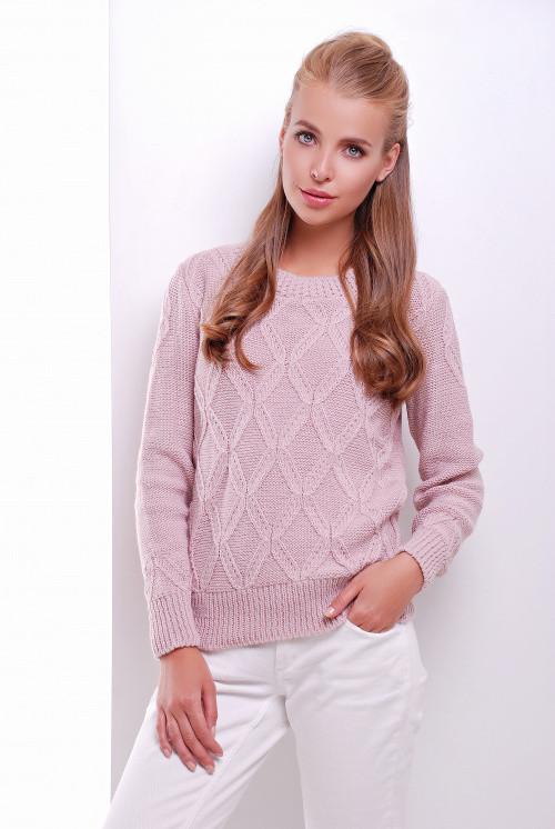 Стильный женский свитер пудра 44-50
