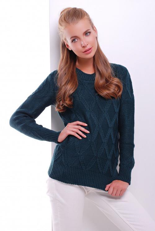 Стильный женский свитер темно-зеленый 44-50