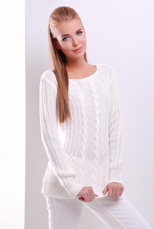 Удобный однотонный женский свитер прямого силуэта молоко 44-50