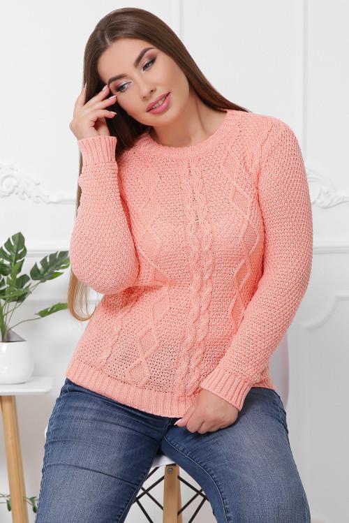 Эксклюзивный свитер в большом размере персиковый 48-54