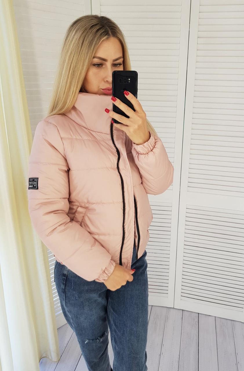 Демисезонная женская куртка короткая, арт. 405 пудра