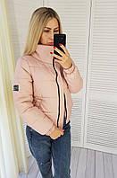 Демисезонная женская куртка короткая, арт. 405 пудра, фото 1