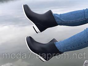 Женские резиновые сапоги, полу сапоги черные с белым, фото 2