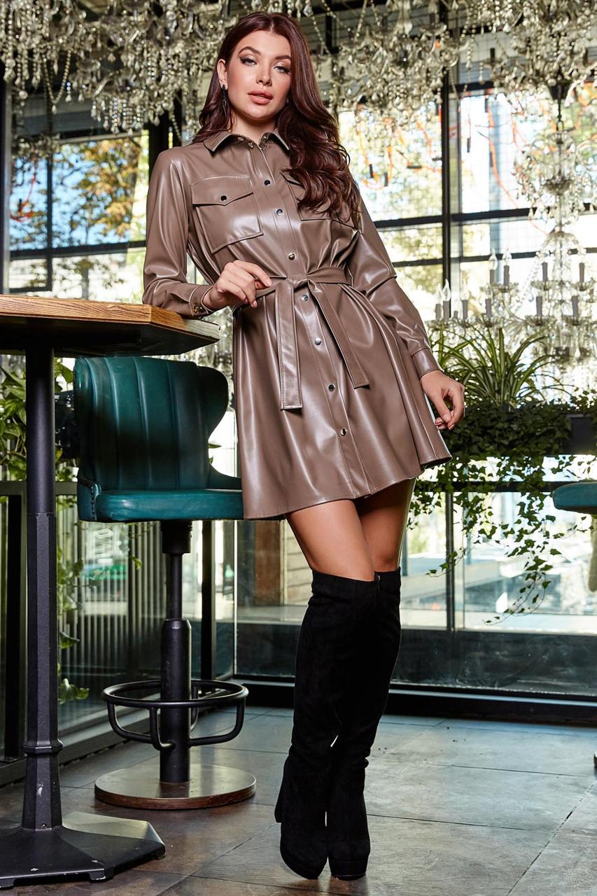 Платье рубашка из экокожи короткое свободное с поясом