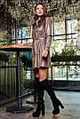 Платье рубашка из экокожи короткое свободное с поясом, фото 4