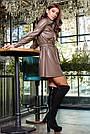 Платье рубашка из экокожи короткое свободное с поясом, фото 5