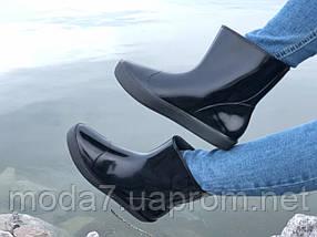 Женские резиновые сапоги, полу сапоги черные, фото 3