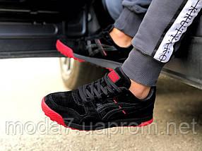 Кроссовки мужские черные с красным Asics замша реплика, фото 2