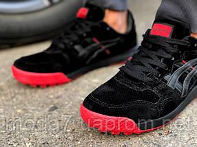 Кроссовки мужские черные с красным Asics замша реплика, фото 3