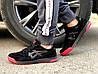 Кроссовки мужские черные с красным Asics замша реплика, фото 4