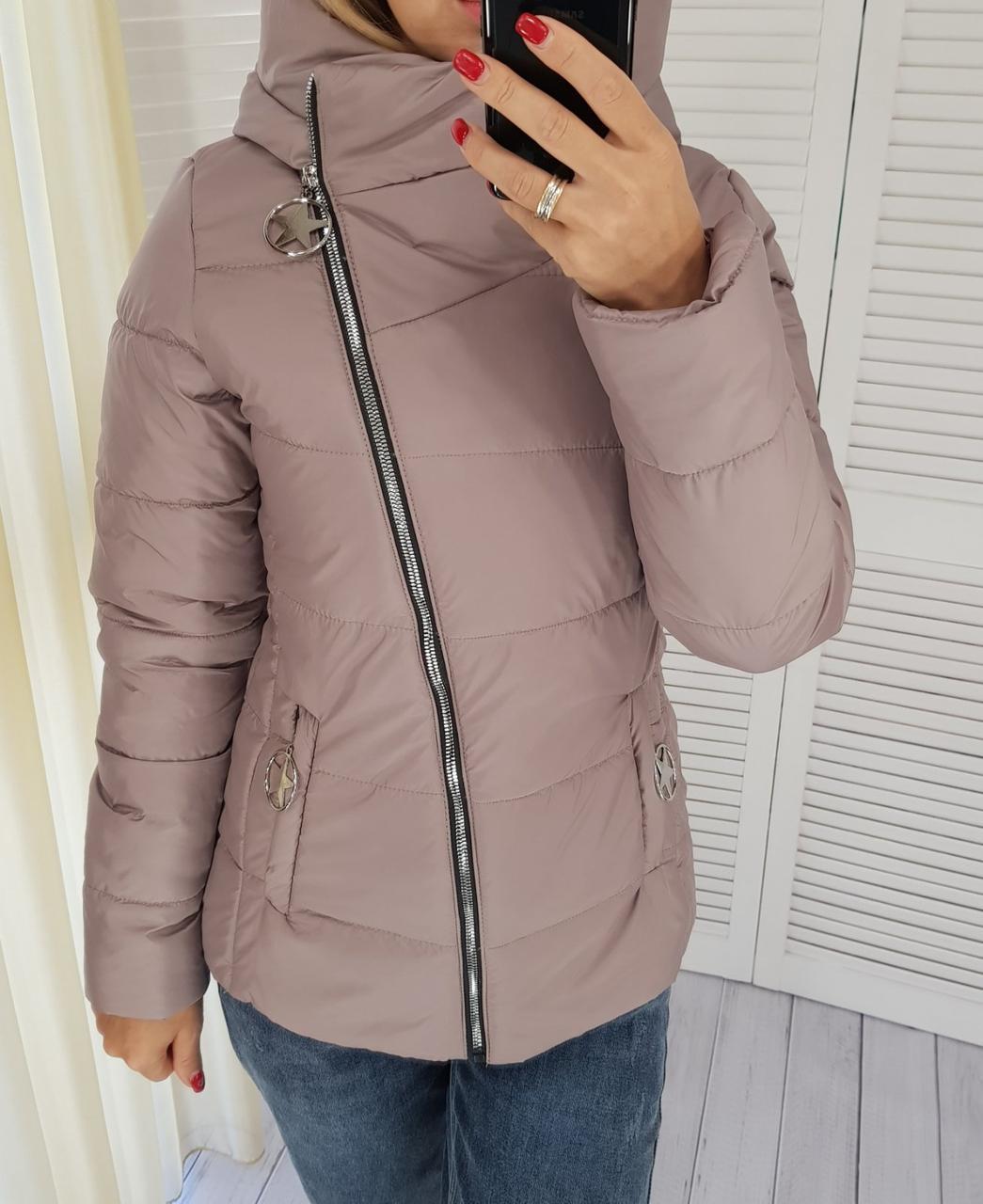 Демисезонная куртка, арт. 501, цвет темно лиловый кофе и молоко