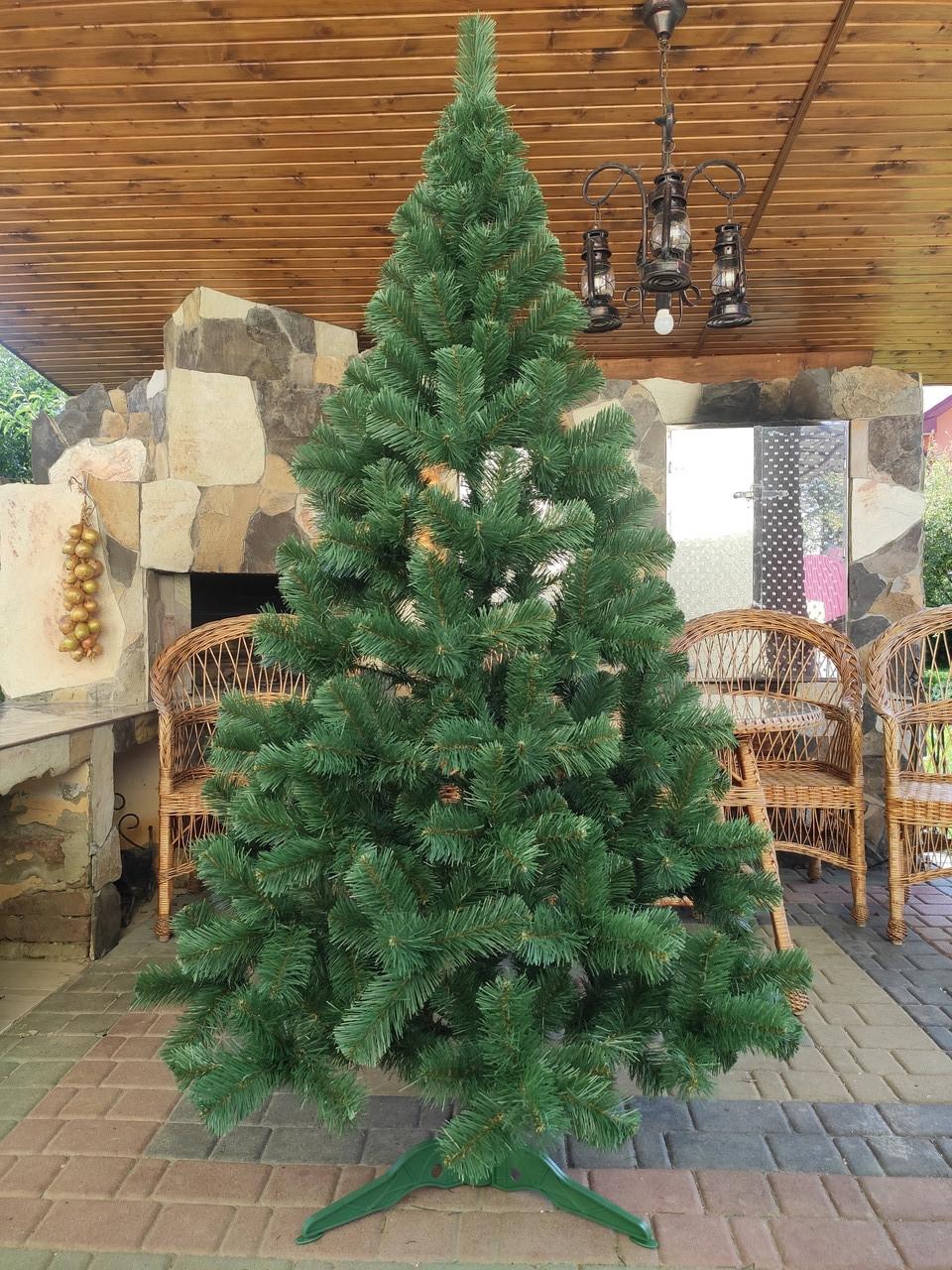 Елка искусственная 2.2м зеленая новогодняя ель праздничная пвх