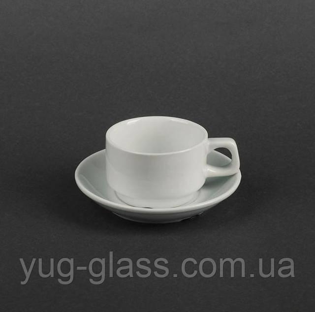 Чашка с блюдцем для кофе белая