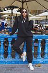 Женский спортивный костюм батал, турецкая трехнить пенье на флисе, р-р 48-50; 52-54 (чёрный), фото 4