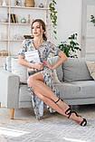 Легкое летнее платье на запах, (40-46рр), миди, за колено, принт голубые листья на бежевом, фото 4