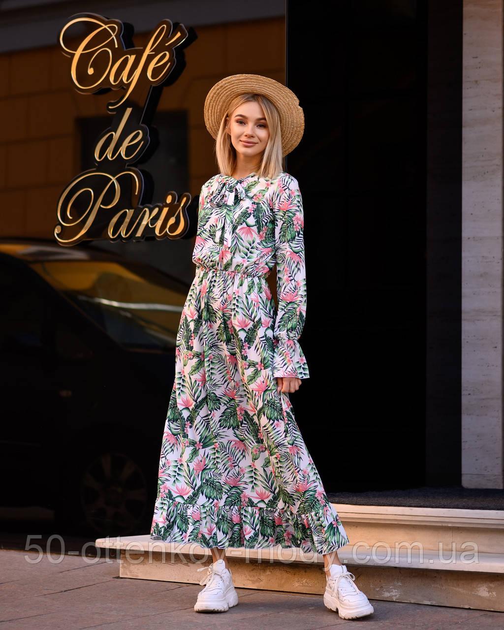 Женское легкое платье с рюшами (универсал 40-46) супер-софт Гучи, талия на резинке