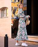 Женское легкое платье с рюшами (универсал 40-46) супер-софт Гучи, талия на резинке, фото 3