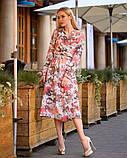 Легкое летнее платье на запах, (48-50рр), миди, за колено, принт магнолия на теплом фоне, фото 2