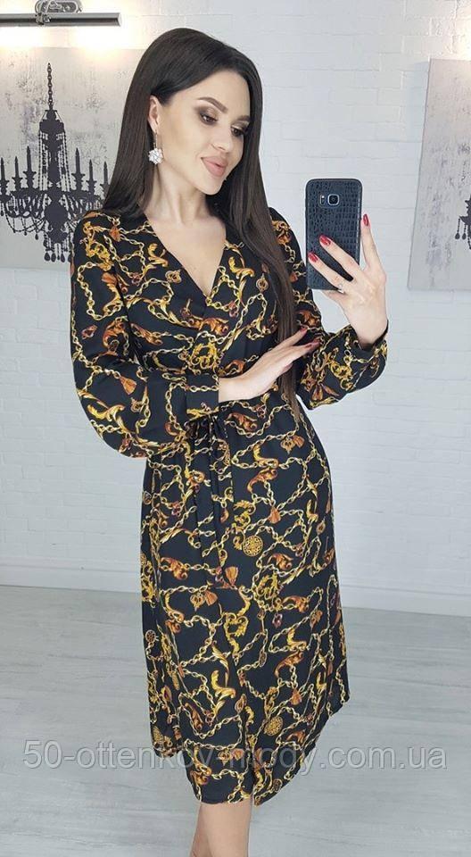 Легкое летнее платье на запах, (40-46рр), миди, за колено, принт цепи на черном