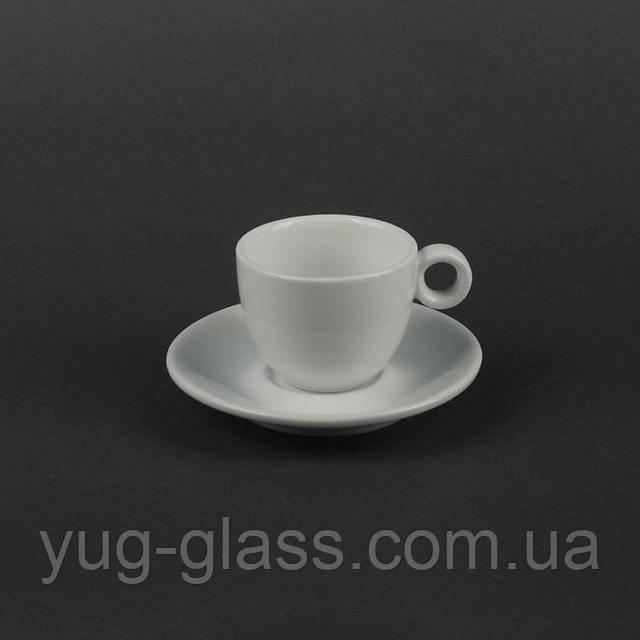 Чашка с блюдцем белая для кофе