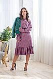 Легкое летнее штапельное платье миди, (40-46рр), декорировано рюшами, зеленые цветы на сиреневом, фото 2