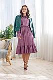Легкое летнее штапельное платье миди, (40-46рр), декорировано рюшами, зеленые цветы на сиреневом, фото 6