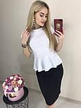 Женский трикотажный костюм (40-46) кофта - баска + юбка карандаш за колено, фото 3