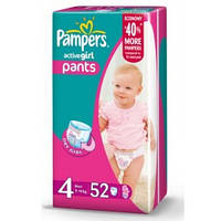 Трусики Pampers Active Girl Pants 4 ( 9-14 ) 52 шт!