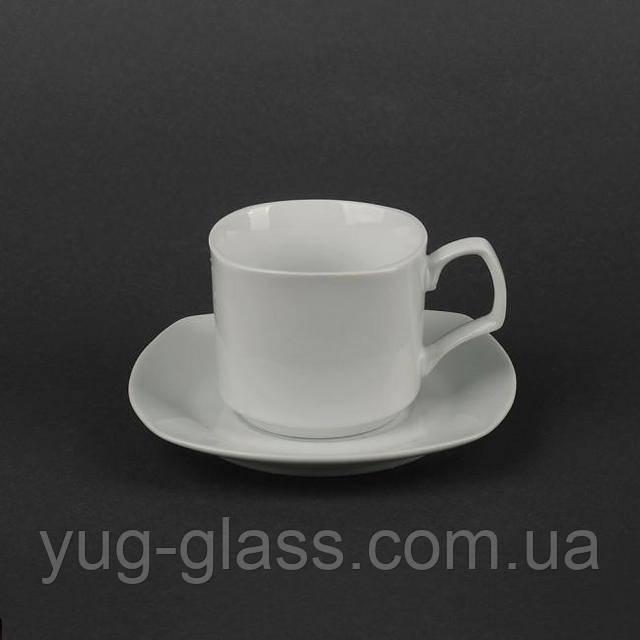 Чашка с блюдцем квадратная белая