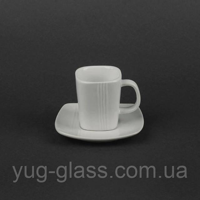 Кофейная чашка с блюдцем квадратная