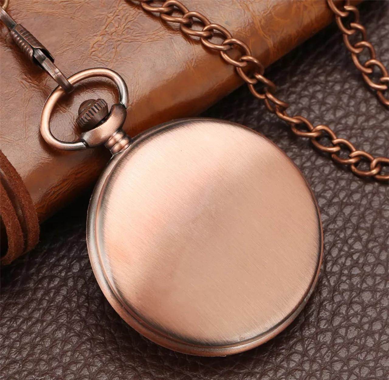 Кишенькові чорні чоловічі годинник на ланцюжку мідний колір