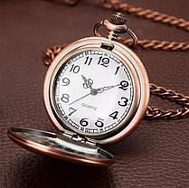 Кишенькові чорні чоловічі годинник на ланцюжку мідний колір, фото 2