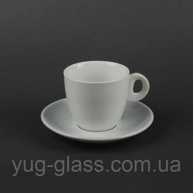 Чашка чайная белая с людцем