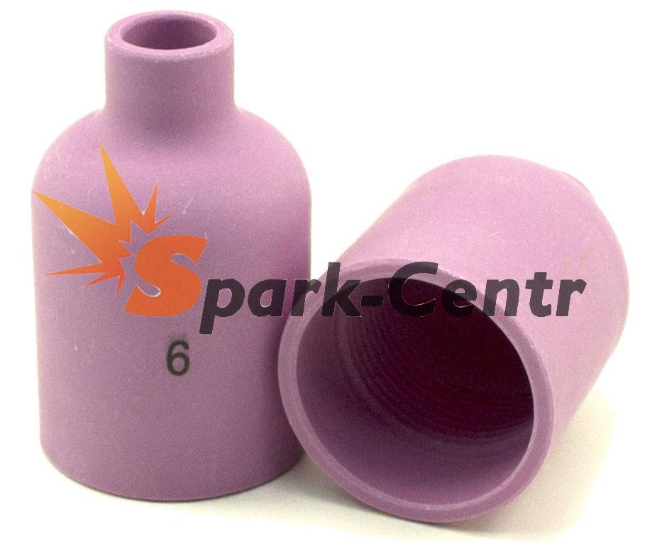 Газове Сопло №6 стандартне для збільшеної газової лінзи 48 мм, Ø9,5 мм серія 57N для пальника WP-18