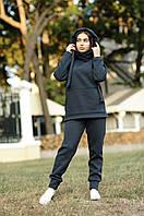 Теплый женский зимний спортивный костюм на флисе темно-серый графит S M L XL XXL (44 46 48 50 52) Po Fanu