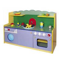 Стенка-Кухня Малая для детских садов для сюжетных игр и хранения игрушек, со шкафами и полками 129х42х85 см