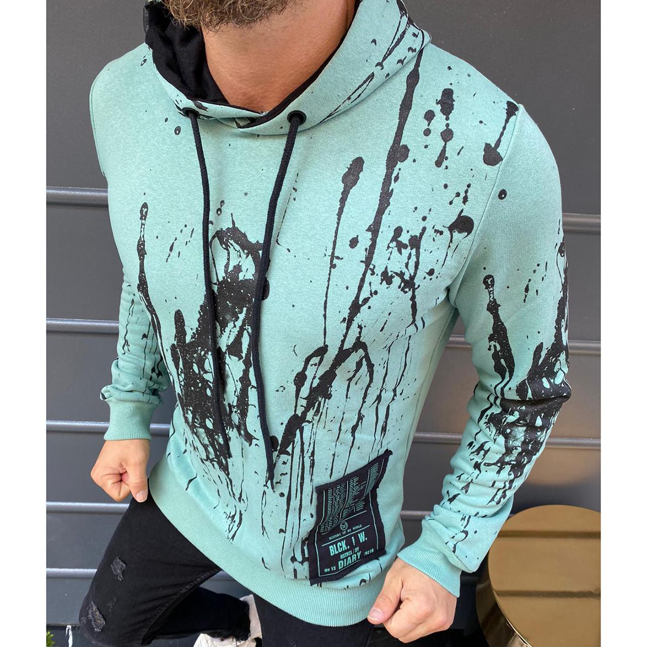 Толстовка мужская ментоловая молодежные яркие модные худи для мужчин с капюшоном