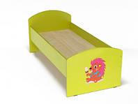 Кровать с рисунком для детей одноместная ясельная с безопасными бортиками, из ЛДСП, цвет салатовый 140х60 см