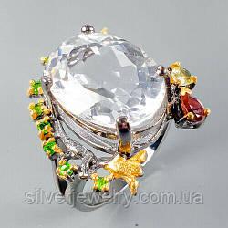Серебряное кольцо с ГОРНЫМ ХРУСТАЛЕМ (натуральный), серебро 925 пр. Размер 18,75