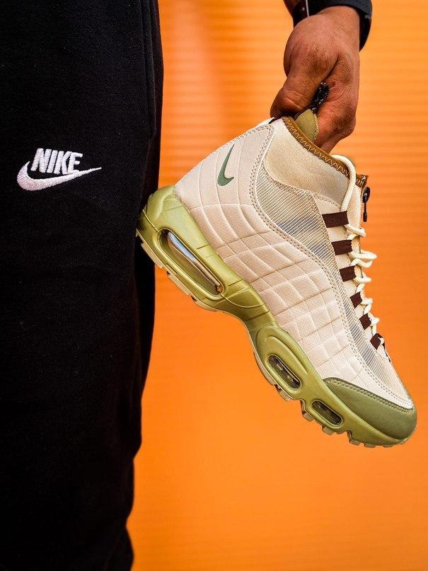 Мужские кроссовки  Nike Air Max Sneakerboot 95 бежевые (копия)