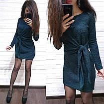 Платье свободное с необычным поясом из ангоры с люрексом, фото 3