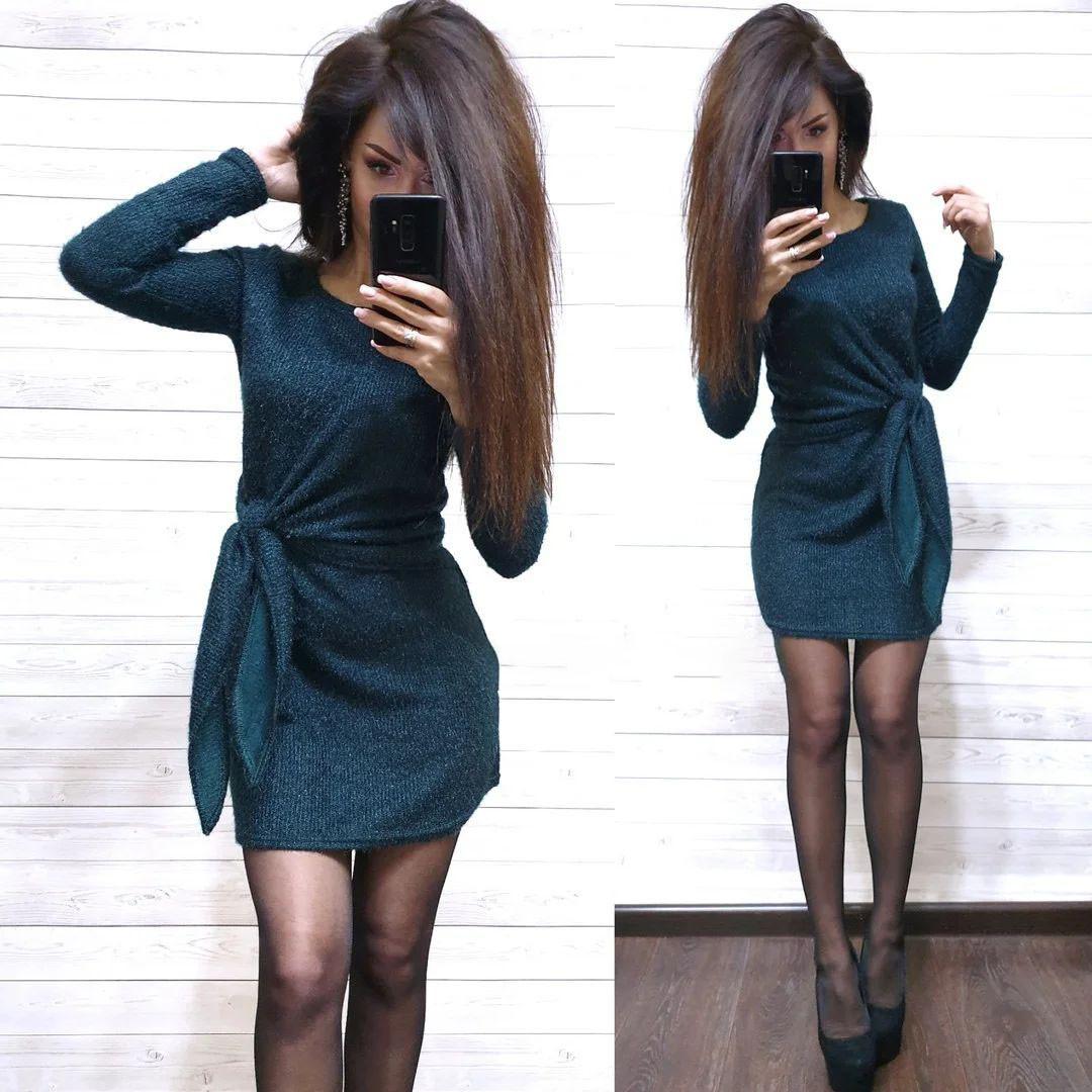 Платье свободное с необычным поясом из ангоры с люрексом