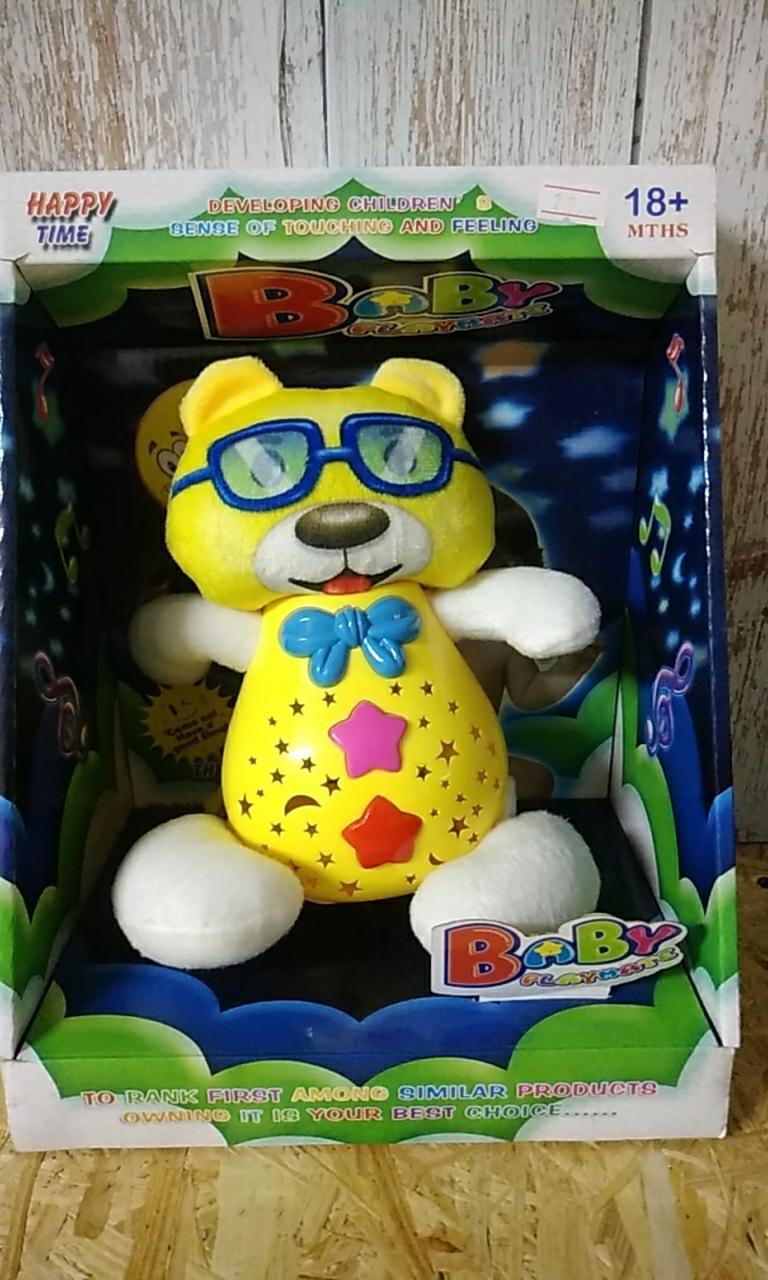 Ночник Мишка в очках звук/свет, желтый