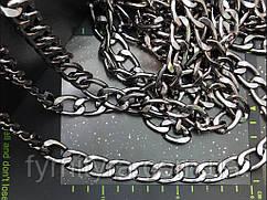 Цепь декоративная 2,3х1,5см тёмный никель Италия К-3,8мм
