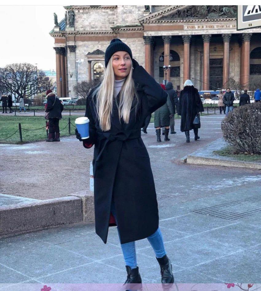 Кашемировое пальто ниже колена рукав реглан