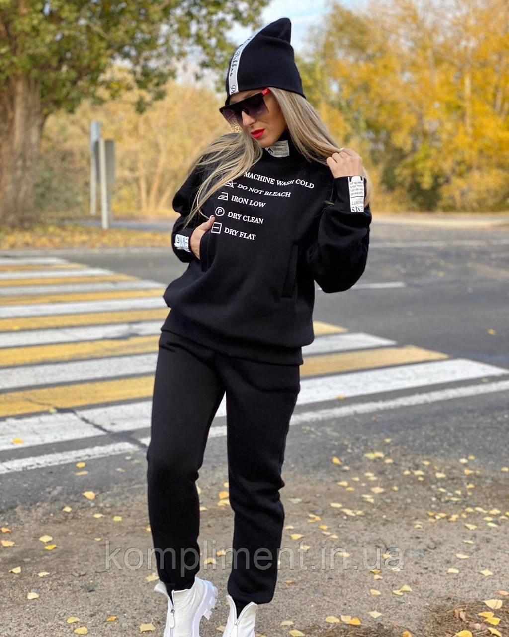 Жіночий турецький бавовняний утеплений спортивний костюм, чорний.