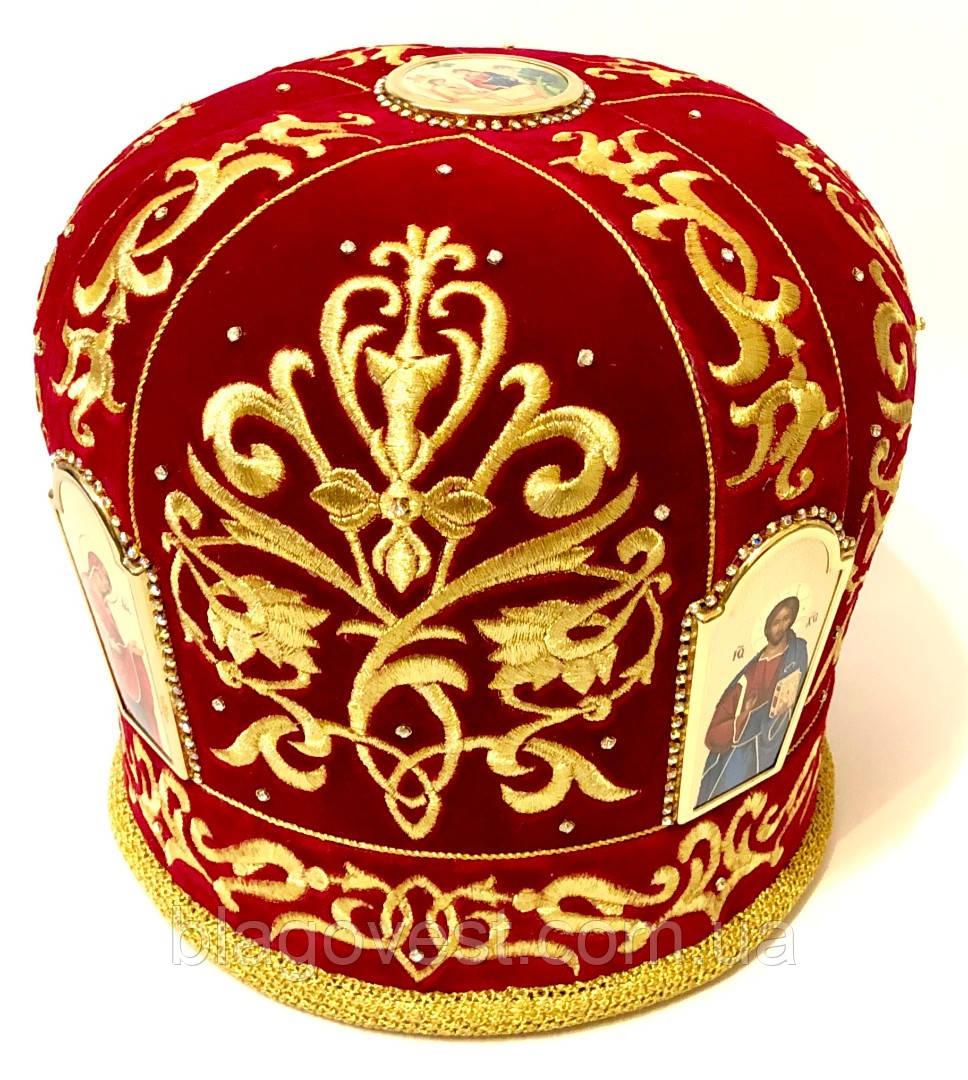 Митра вышитая, камни Сваровски р.59 (красный)