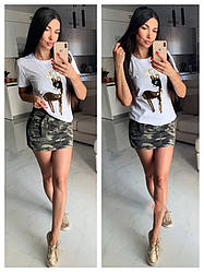Спідниця джинсова міні кольору камуфляж