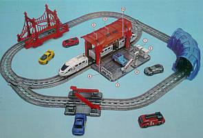 Залізниця з мостом, тунелем, машинами та аксесуарами