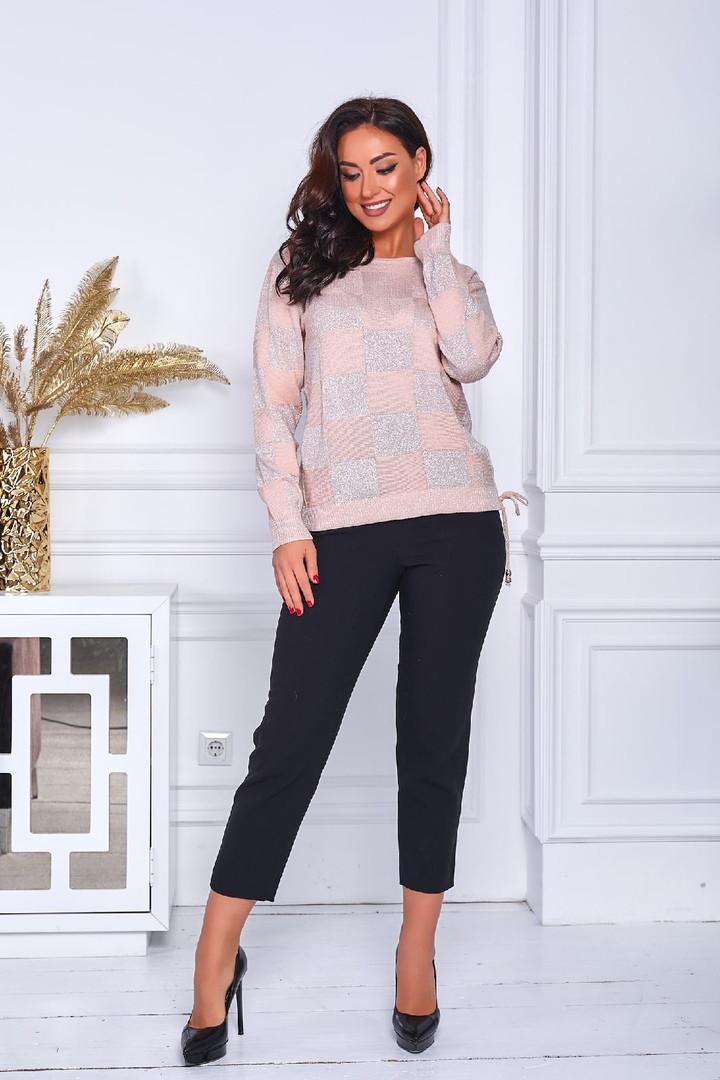 Женский свитер батал, тонкая машинная вязка, р-р универсальный 48-52 (пудра)